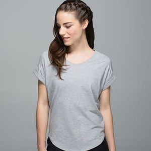 Lululemon Grey Heathered Weekend Short Sleeve Top